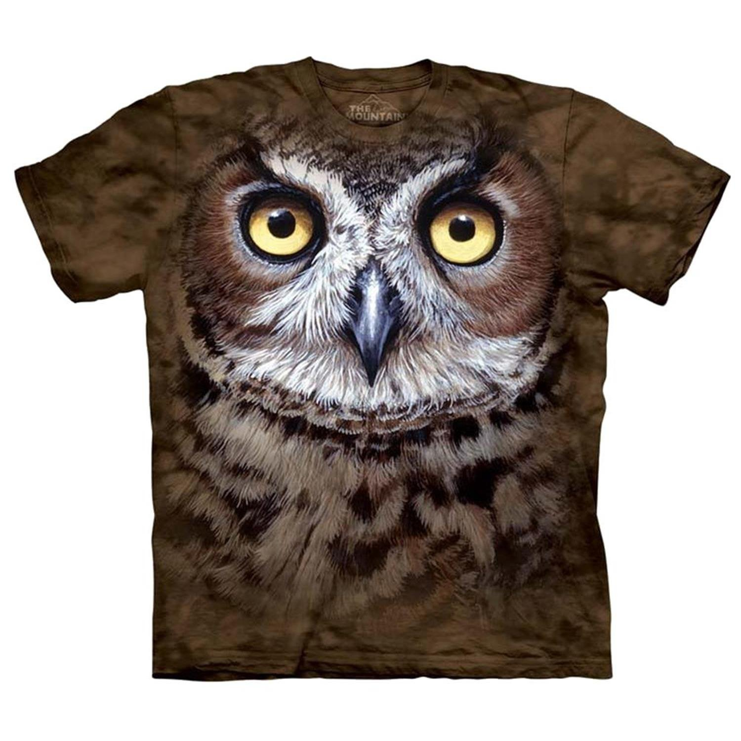e21cdea6b Amazon.com: Mountain Great Horned Owl Head Adult Size T-shirt Brown ...