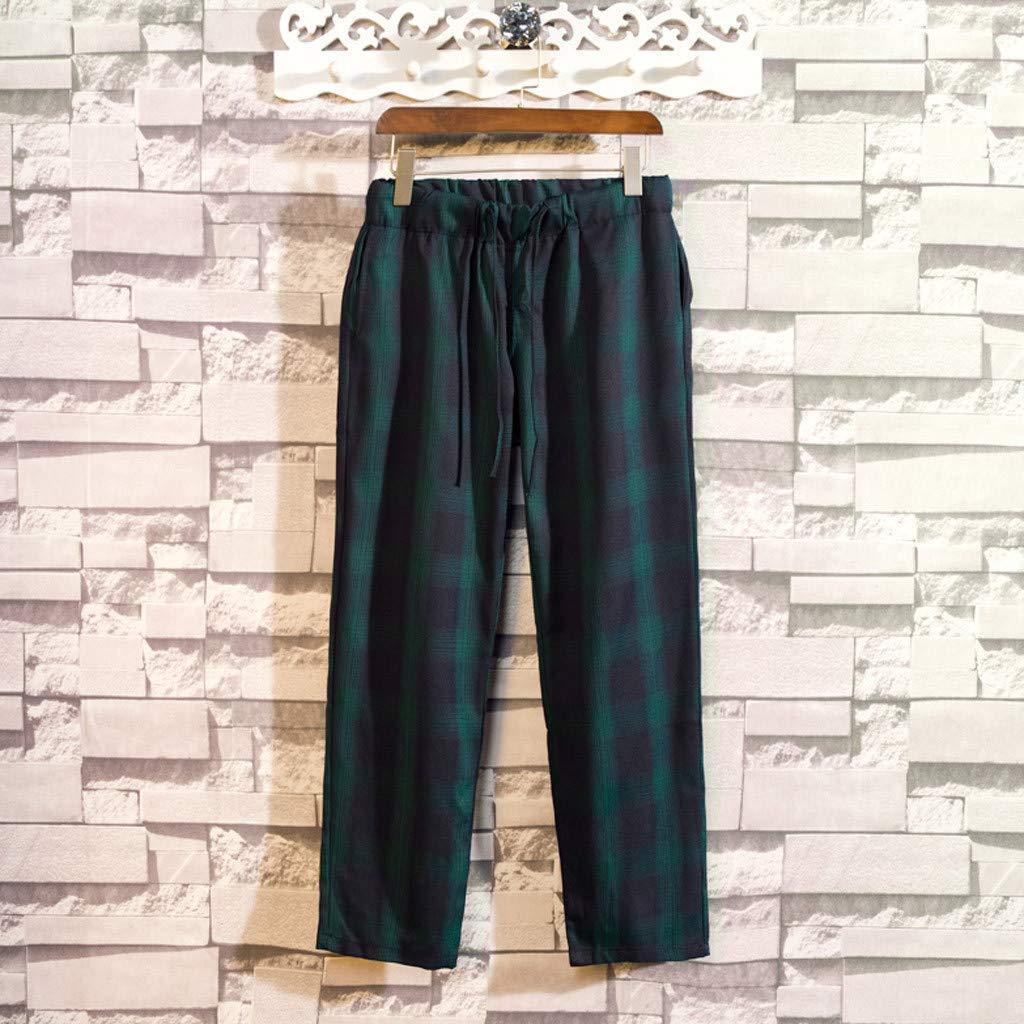 Dazlinea Mens New Stlye Fashion Casual Loose Plaid Harem Pants Couple Models Shorts