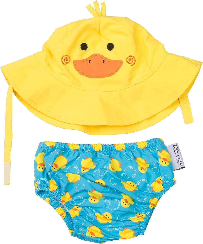 Small 0-6m Zoocchini Swim Diaper and Sun Hat Set Duck