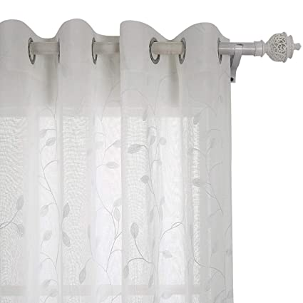 Tende Con Anelli.Deconovo Tende Trasparenti In Voile Ricamate Con Anelli Finestre Soggiorno 140x245cm Bianco 2 Pannelli