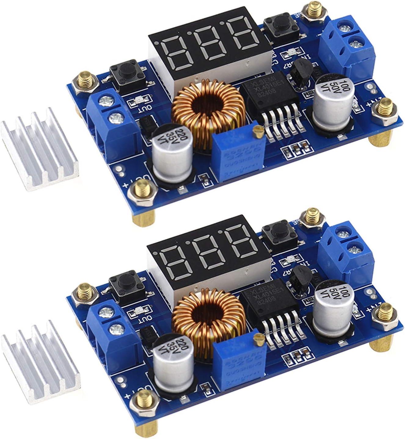 2x XL4015 5A 75W DC-DC Spannungs-Abw/ärtswandler einstellbar LED Voltmeter