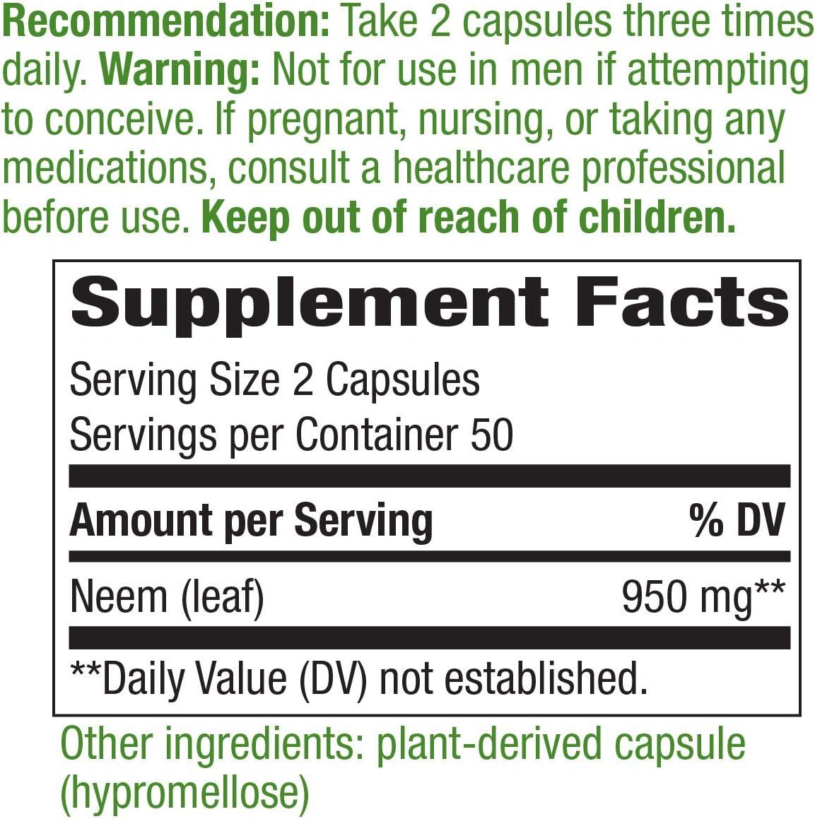 Nature's Way Premium Herbal Neem Leaf, 950 mg per serving, 100 Capsules: Health & Personal Care