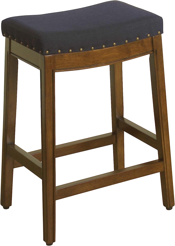HomePop Blake Backless Nailhead Trim Counter Height Barstool, 24-inch, Blue Tweed