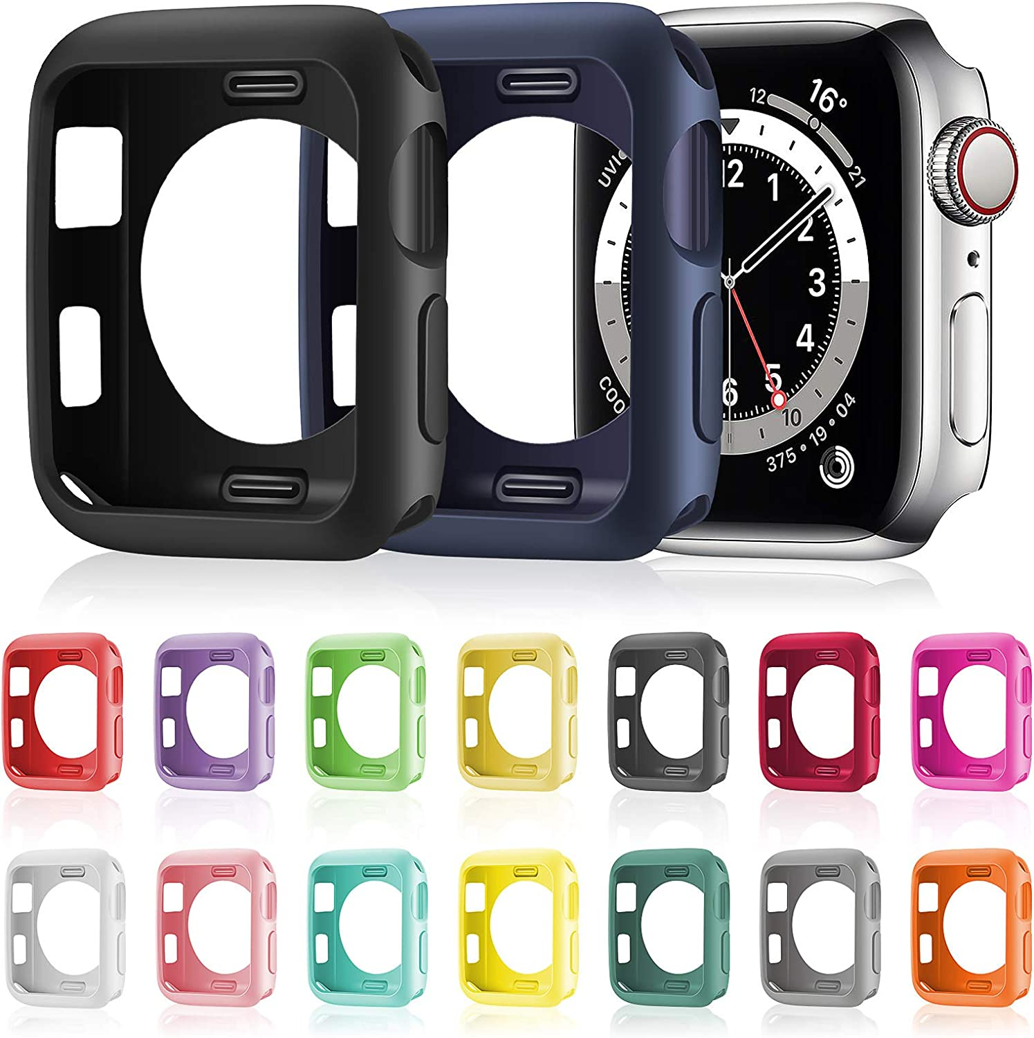 16 Pieces Soft TPU Protective Watch Case Anti-Scratch Silicone Protector Soft Flexible TPU Thin Lightweight Bumper Cover for Smartwatch Series SE/6/5/4/3/2/1 (44 mm)