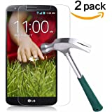 LG G2 Screen Protector,TANTEK [Bubble-Free][HD-Clear][Anti-Scratch][Anti-Glare][Anti-Fingerprint] Premium Tempered Glass Screen Protector for LG G2,[Lifetime Warranty]-[2Pack]