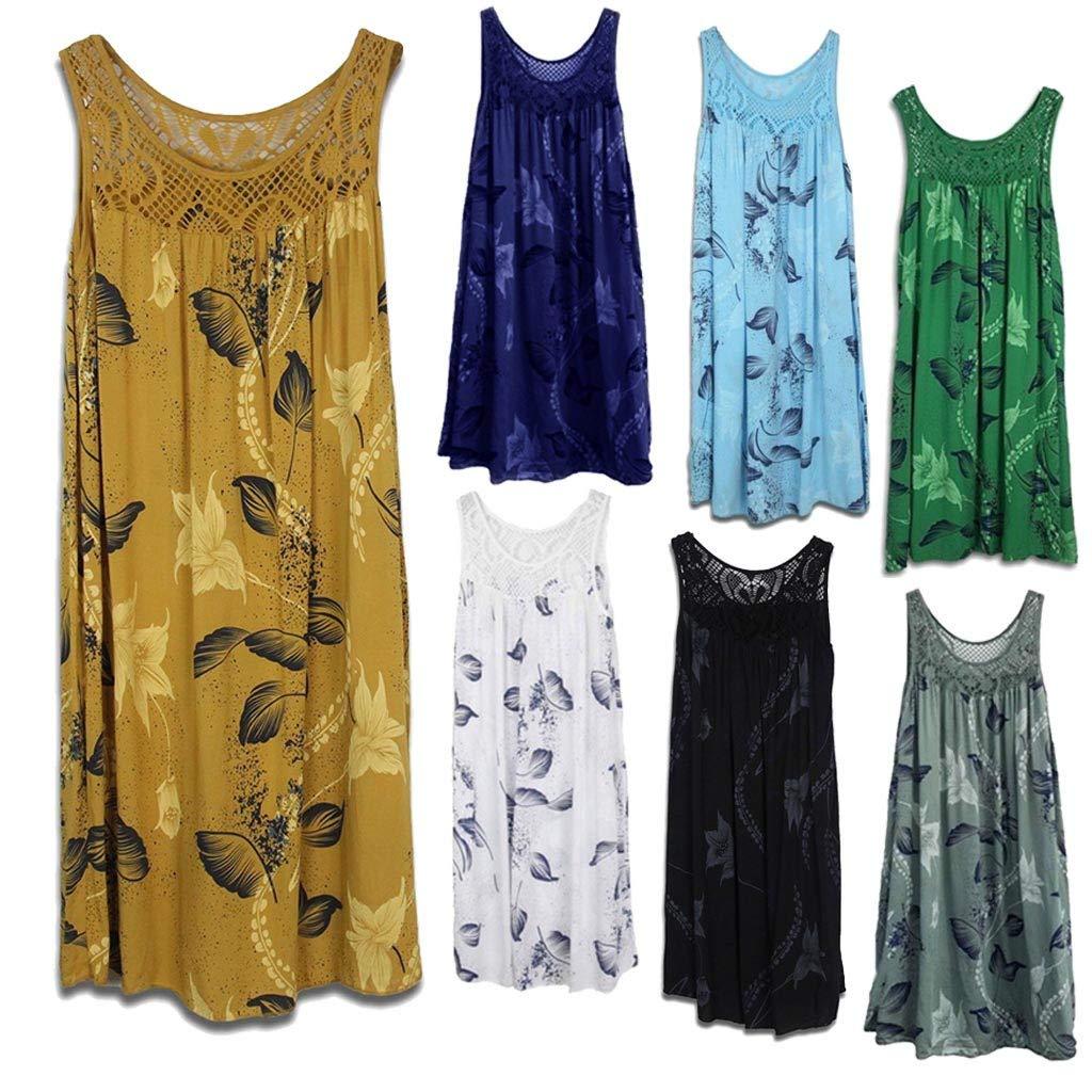 Women's Tank Dress Lace Stitching Print Beach Dresses Sleeveless Boho Dress Army Green by Leedford (Image #2)