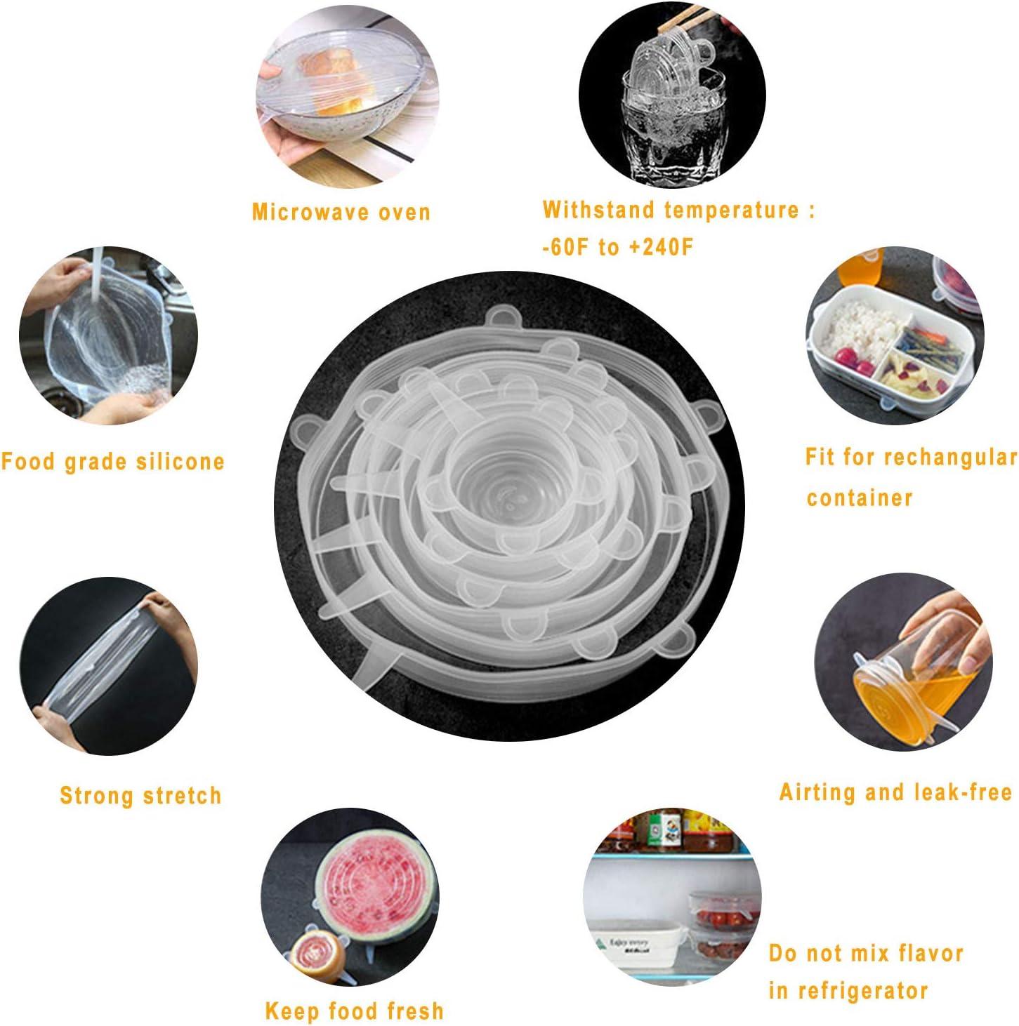 Tapas de Silicona El/ásticas Lavavajillas Reutilizable Fundas para Alimentos Tapa Tazas 12 Tapas Silicona Ajustables Cocina Refrigerador Boles o Tarros
