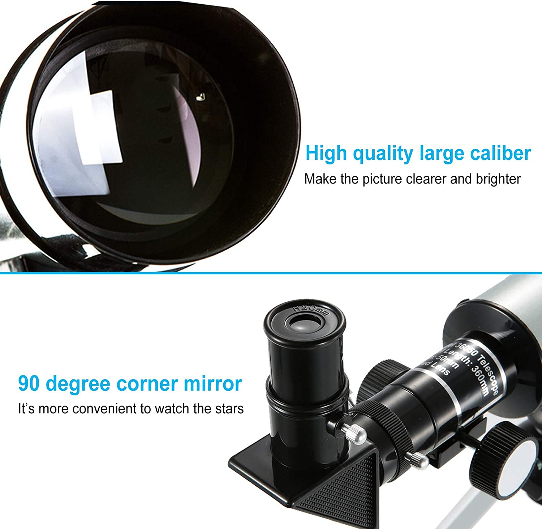 Plata Zeroall Telescopio Astron/ómico para Ni/ños Telescopio Port/átil con Tr/ípode Ligero Telescopio Refractor Astron/ómico para Principiantes Ni/ños Adolescentes