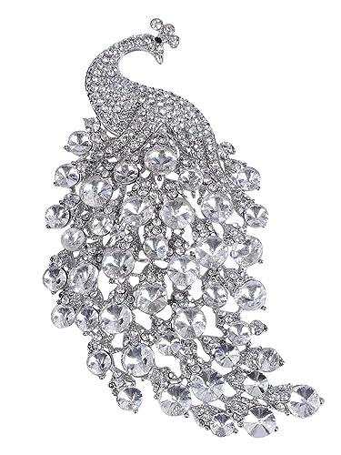 428539a9e47fb Amazon.com: Alilang Women Silvery Tone Shiny Clear Swarovski Crystal ...