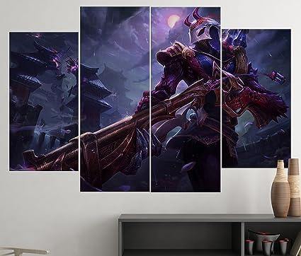 Blood Moon Jhin - 4 Piece Canvas | League of Legends Canvas Wall Art ...