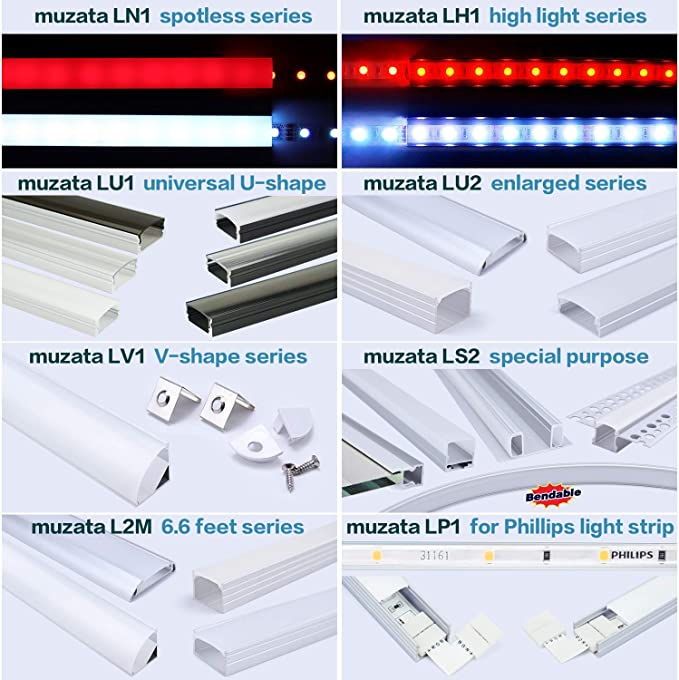 The Aluminum Channels Can Be Connected Seamless For Longer Lighting Project,10PACK LCB2 Muzata Extension Connectors for V-Shape Aluminum LED Channel