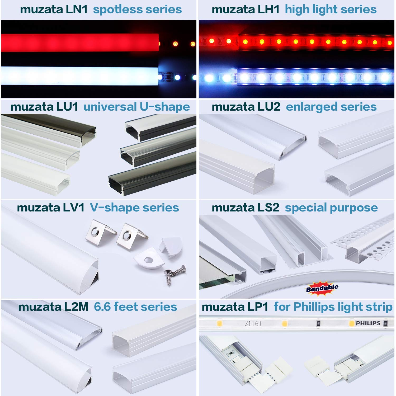 90 Degree Muzata Led Channel Corner Connector kit L-Shape Adaptor X6 Pairs and Corner Connectors x6PCS for U-Shape Aluminum Channel