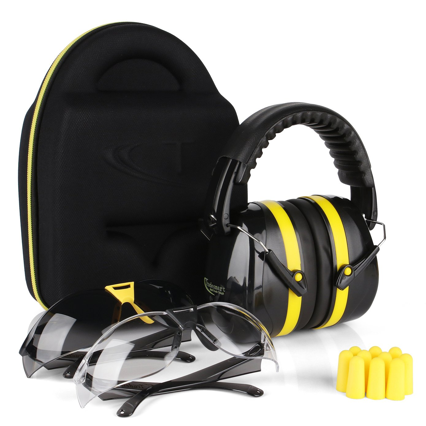 TRADESMART BUILT TRADE TOUGH Tradesmart Ear Muffs, Earplugs and 2PK Adjustable Gun Safety Glasses with Case - UV400 and Anti Fog Eye Protection by TRADESMART BUILT TRADE TOUGH