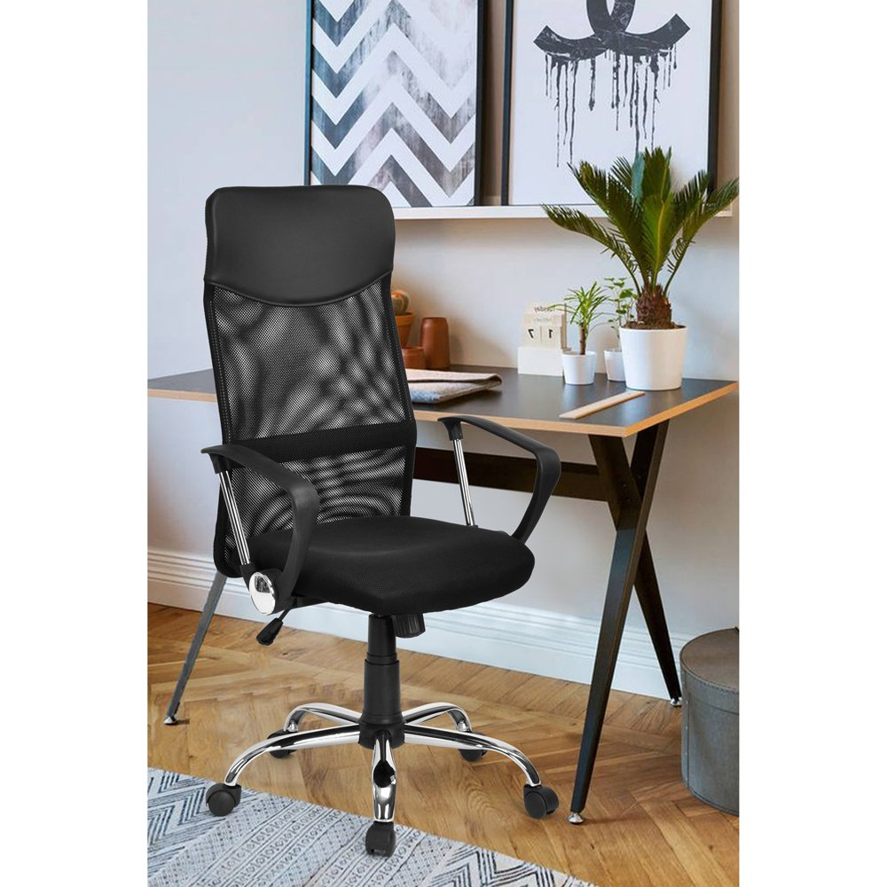GreenForest Ergonomic Desk Chair High Back with PU Leather Headrest and Armrests, Office Chair Breathable Mesh, Computer Chair Height Adjustable with Wheels, Black