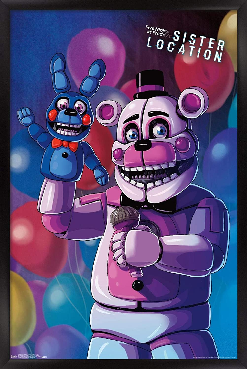 """Trends International Five Nights Sister Location-Funtime Freddy Wall Poster, 22.375"""" x 34"""", Black Framed Version"""
