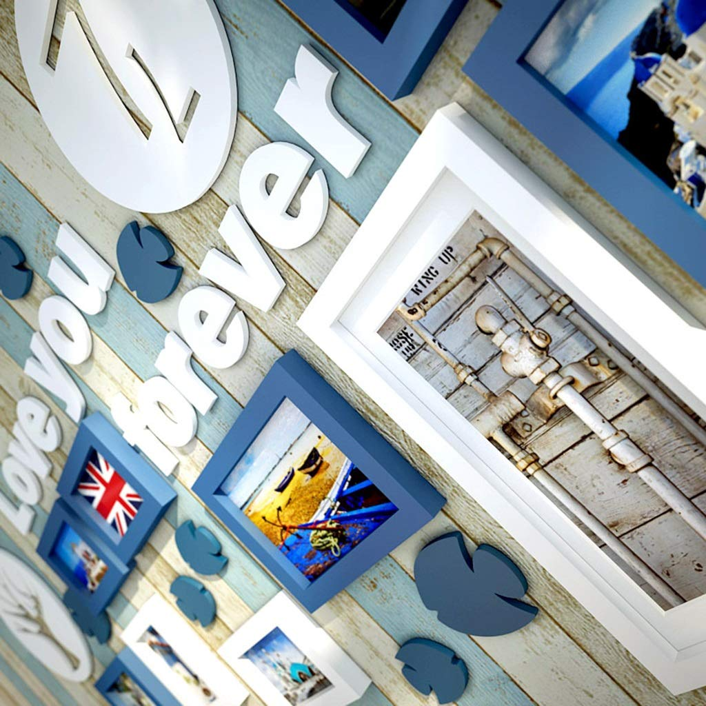 Cornice in Legno massello Parete Europea Moderna Minimalista Creativo Frame Photo Frame Creativo Bella Cornice Naturale Combinazione di Combinazione Decorazione della Parete di Fondo (Coloreee   Blu e Bianco) 58c1b5