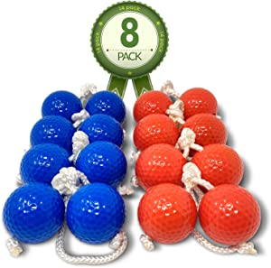 "Kayco Outlet - Tournament Quality Ladder Balls Replacement – 8 Pack - for Outdoor Ladderball Toss and Golf Game Set 14.75"" Size"