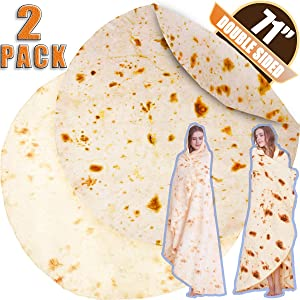 INNOCEDEAR Burritos Blanket,2 Pack Double Side Flannel Tortilla Blanket 71 inches,Comfortable Soft Novelty Giant Taco Blanket,Funny Gag Gifts for Adults&Kids-Style 2