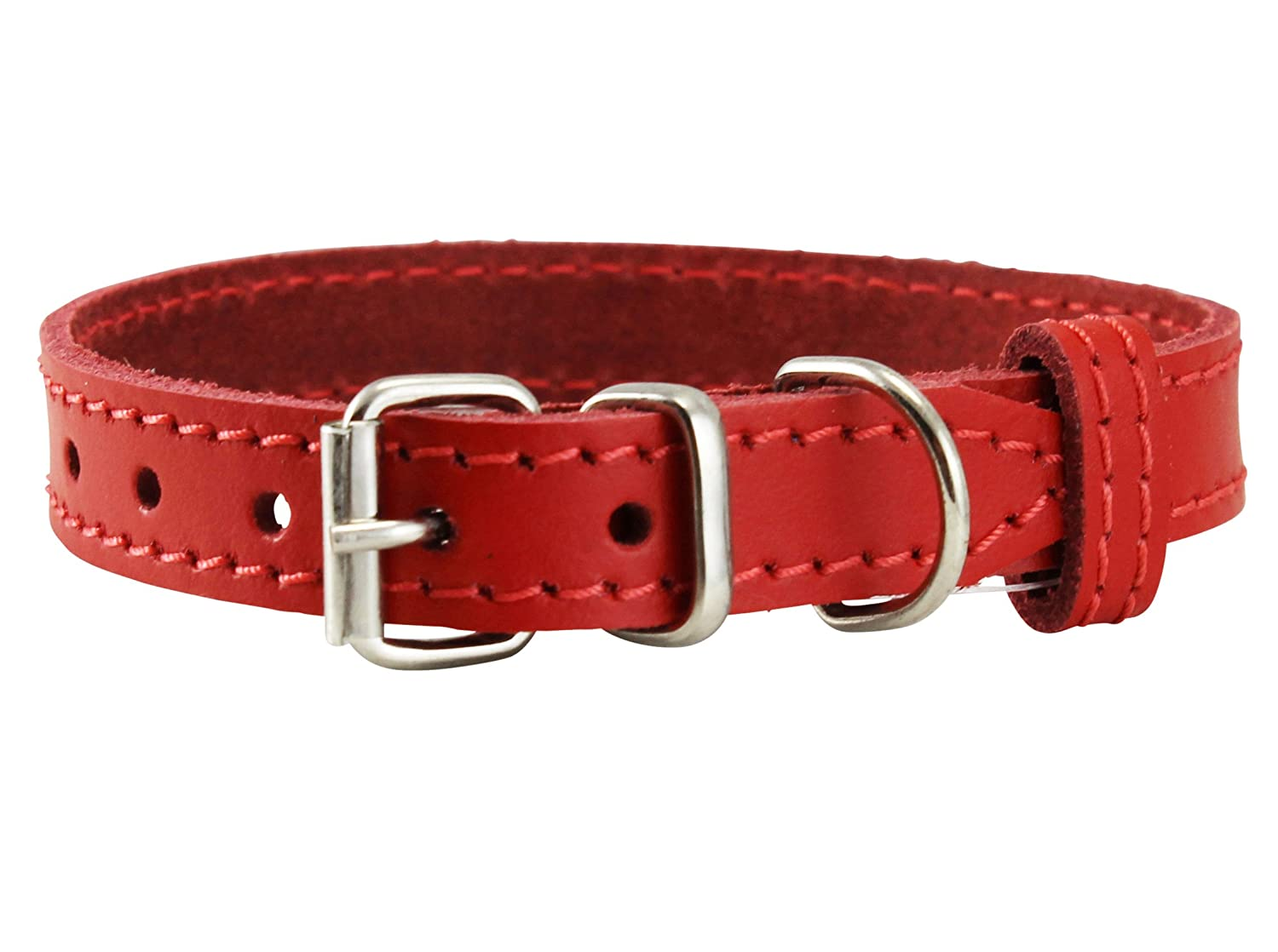 Neck  8\ Genuine Leather Dog Collar for Smalles Dogs and Puppies 3 Sizes Red (Neck  8 -9.75 ; 3 8  Wide)