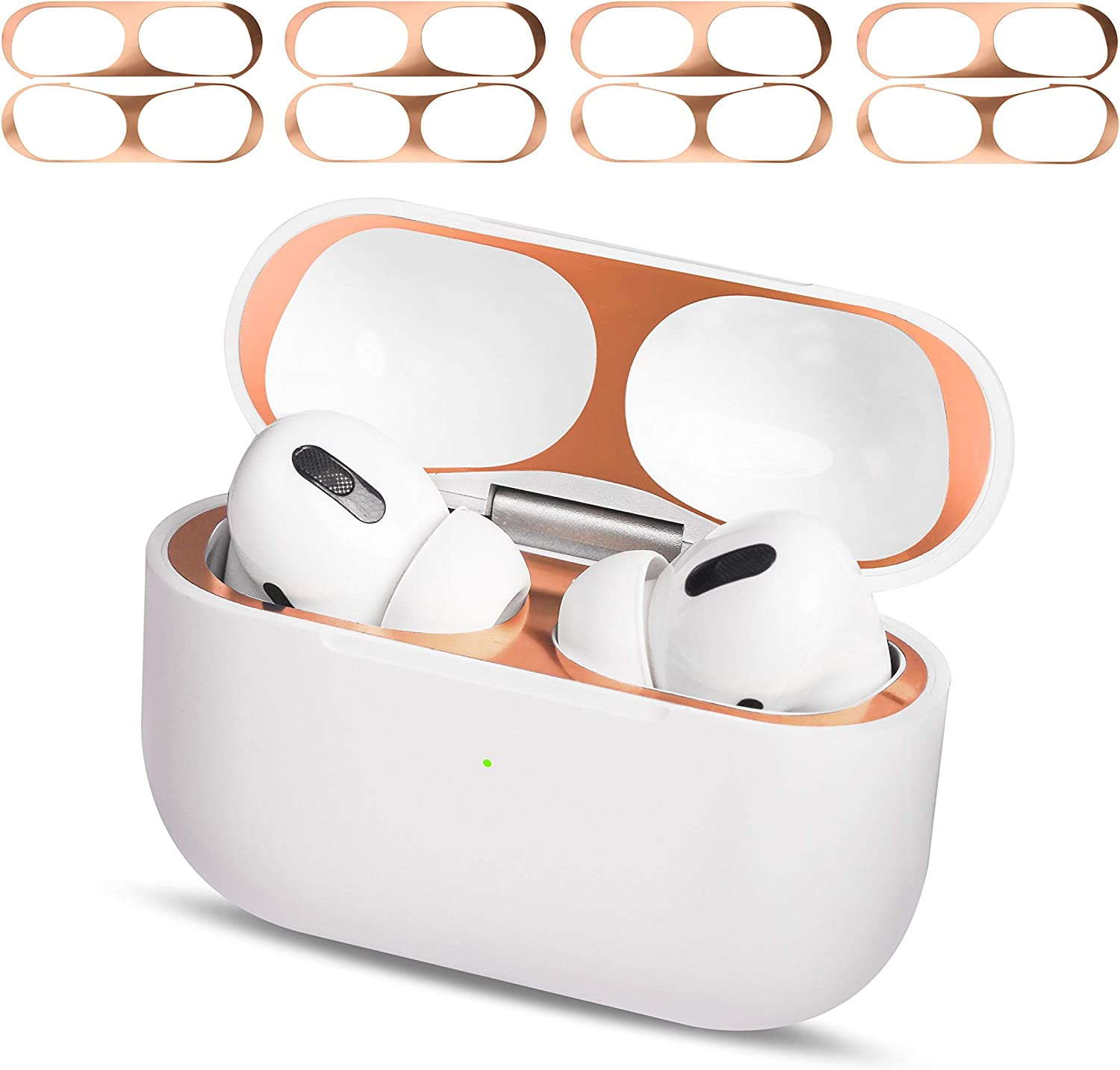 MioHHR AirPods Pro Dust Guard Clear 4 Set, Metal Dust Cover for Apple Airpod Pro Protector Sticker, Airpods 3 Dust Proof Film Accessories for Wireless Charging Case, Ultra Slim Luxurious Rose Gold