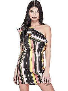 GUESS Factory Womens Sammie Ruffle One-Shoulder Dress