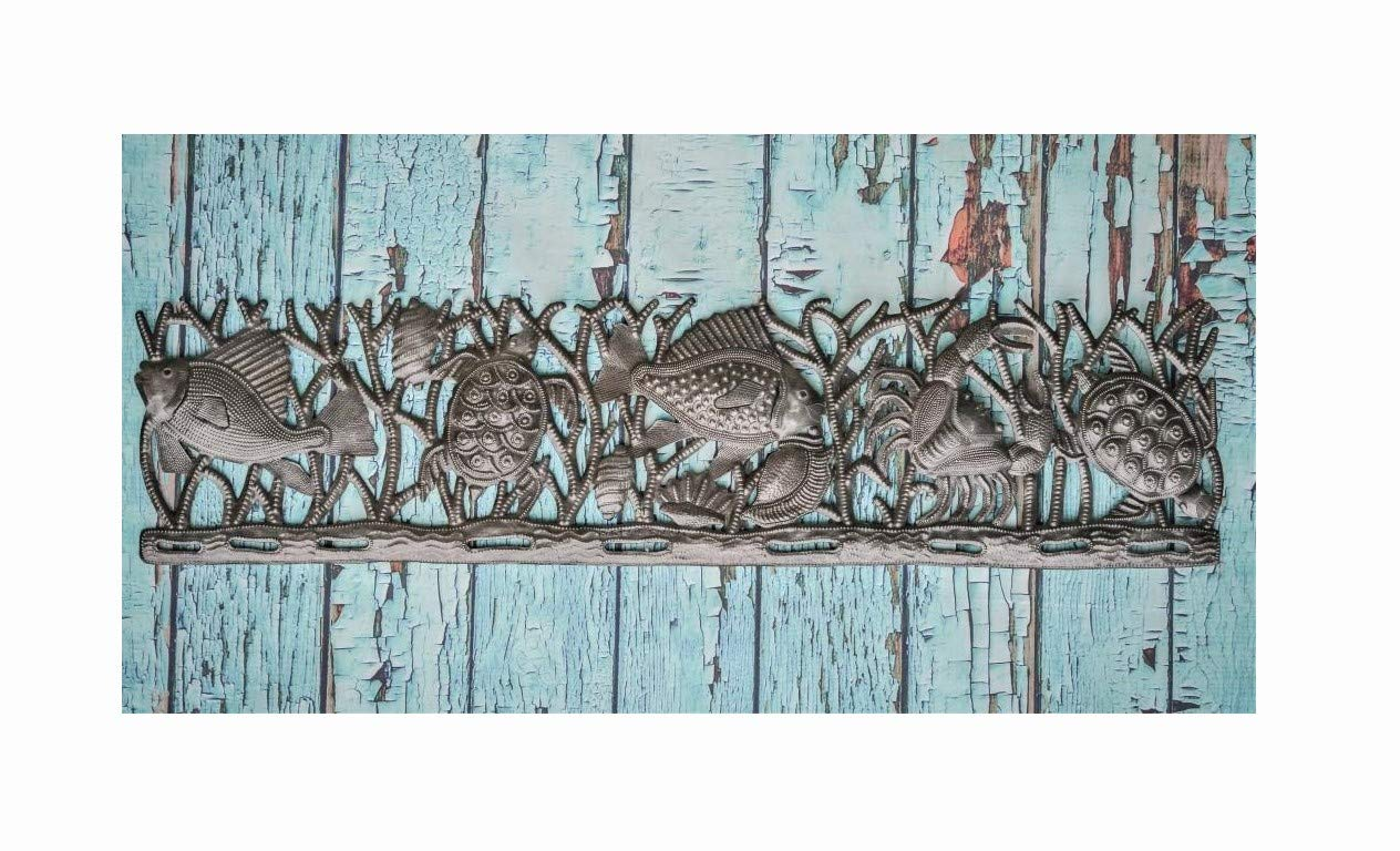 Ocean wall hanging 20x82cm Haitian Metal Art Sea Turtle Fish and Crab
