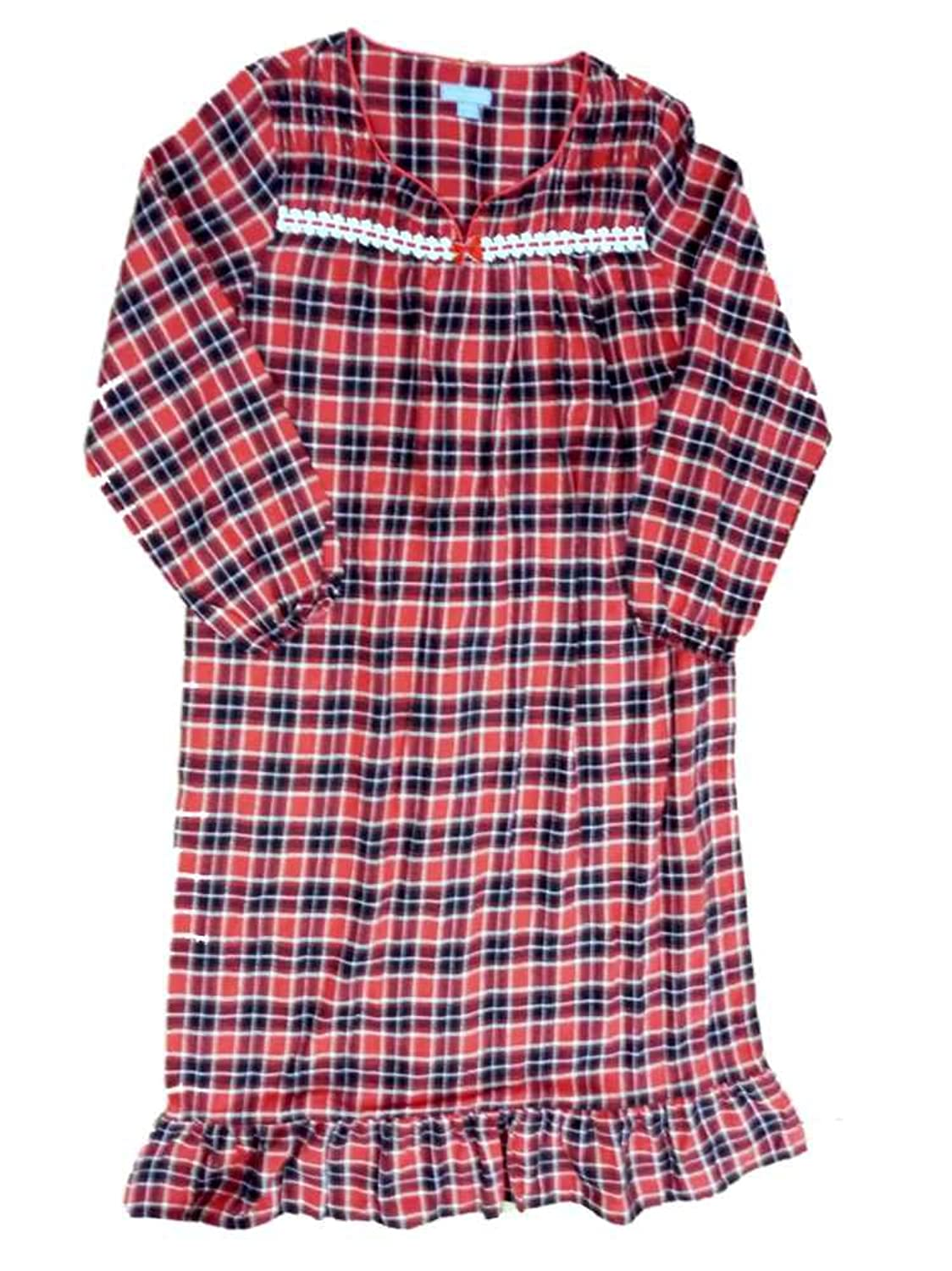Laura Scott Womens Red Plaid Flannel Nightgown Night Gown Medium at ...