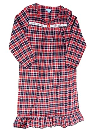6d0ae2a558 Laura Scott Womens Red Plaid Flannel Nightgown Night Gown at Amazon ...