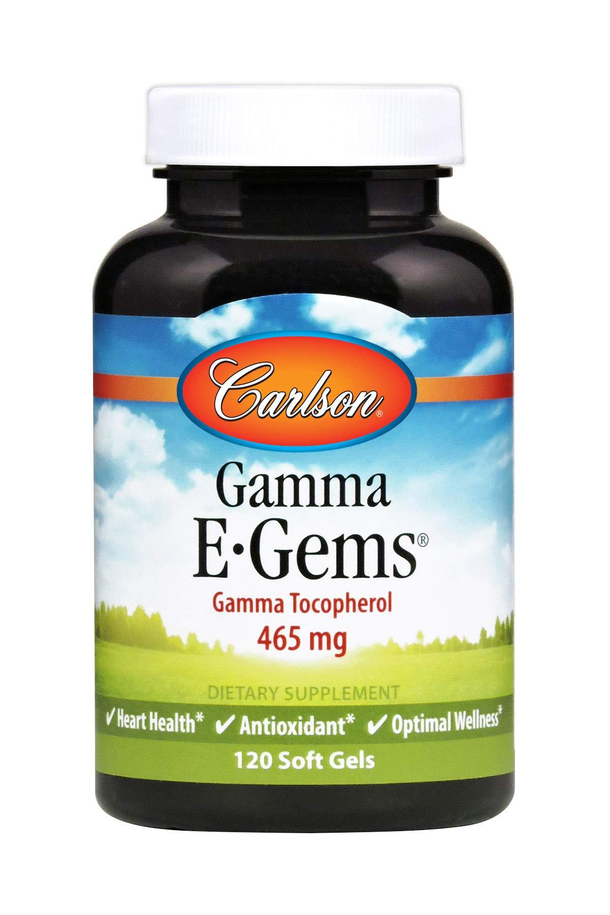 Carlson - Gamma E-Gems, Gamma Tocopherol 465 mg, Heart Health & Optimal Wellness, Antioxidant, 120 Soft gels