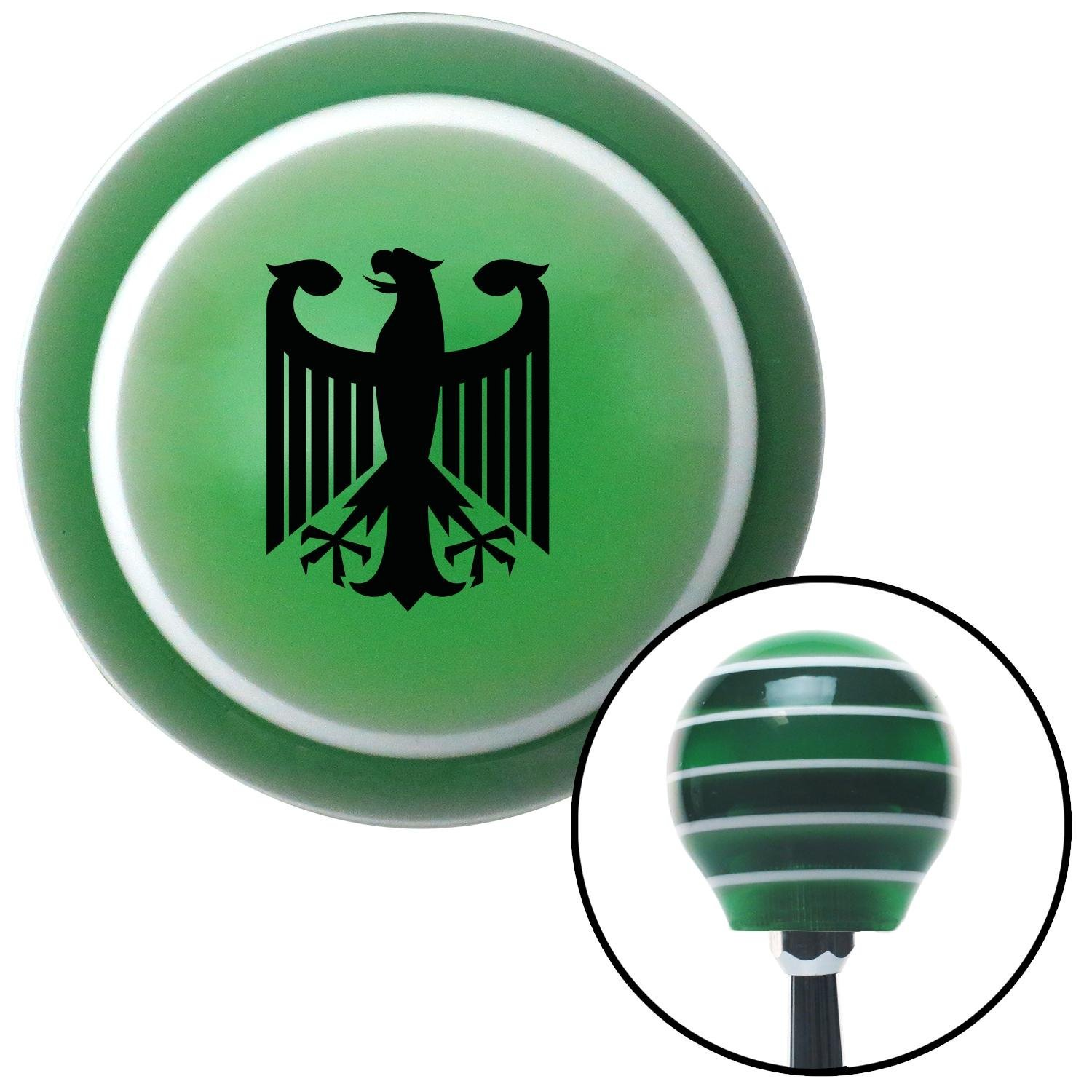 American Shifter 123405 Green Stripe Shift Knob with M16 x 1.5 Insert Black Eagle Coat of Arms