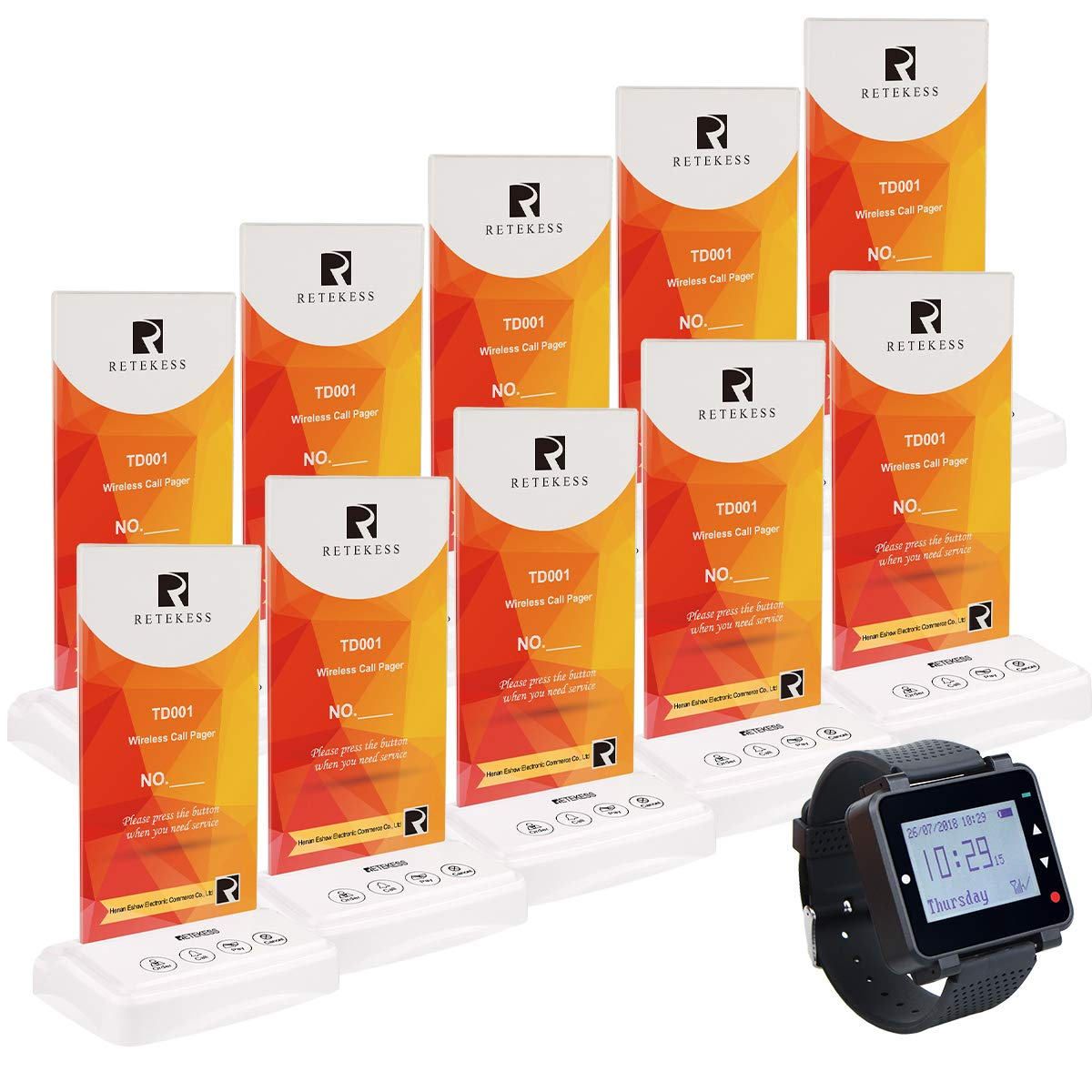 Retekess T128 Wireless Waiter Calling System Customer Paging Rechargeable Wrist Pager Watch Restaurant Table Caller(1 Watch Pager 10 Call Buttons)