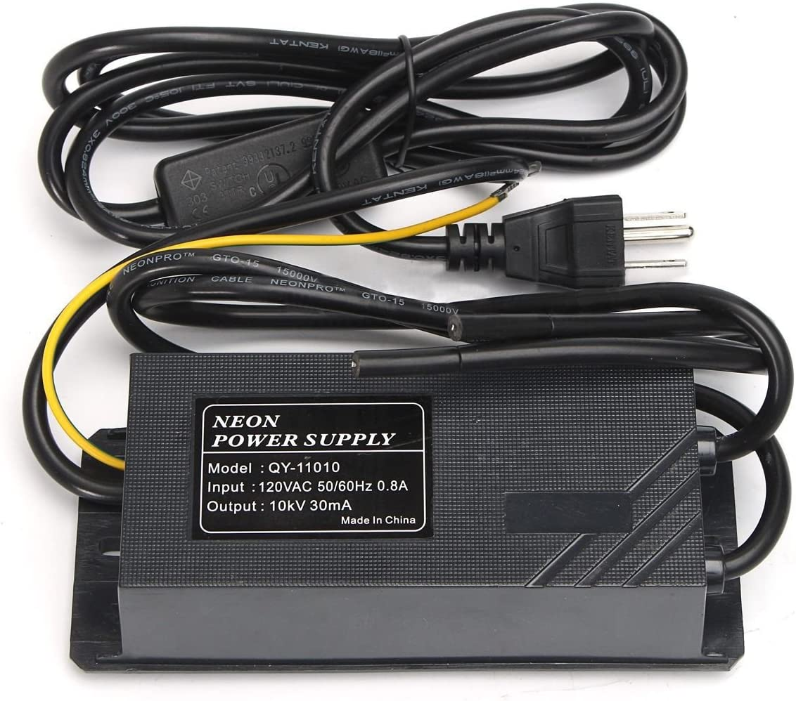 YaeCCC 10KV 30mA Power Supply for Glass Neon Sign Electronic Neon Light Transformer 120V AC 50Hz/60Hz