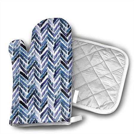 Tropical Ikat Indigo - Juego de manoplas para horno y soporte para ...