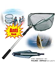Cloudsky Fishing Net with Telescoping Pole Extends to 1.9M, Foldable Fly Fishing Landing Net 1 x 1CM Mesh Size for Saltwater Freshwater Fishing, Safe Catch and Release