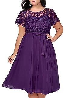 f53a1af116 Nemidor Women s Scooped Neckline Floral lace Top Plus Size Cocktail Party  Midi Dress