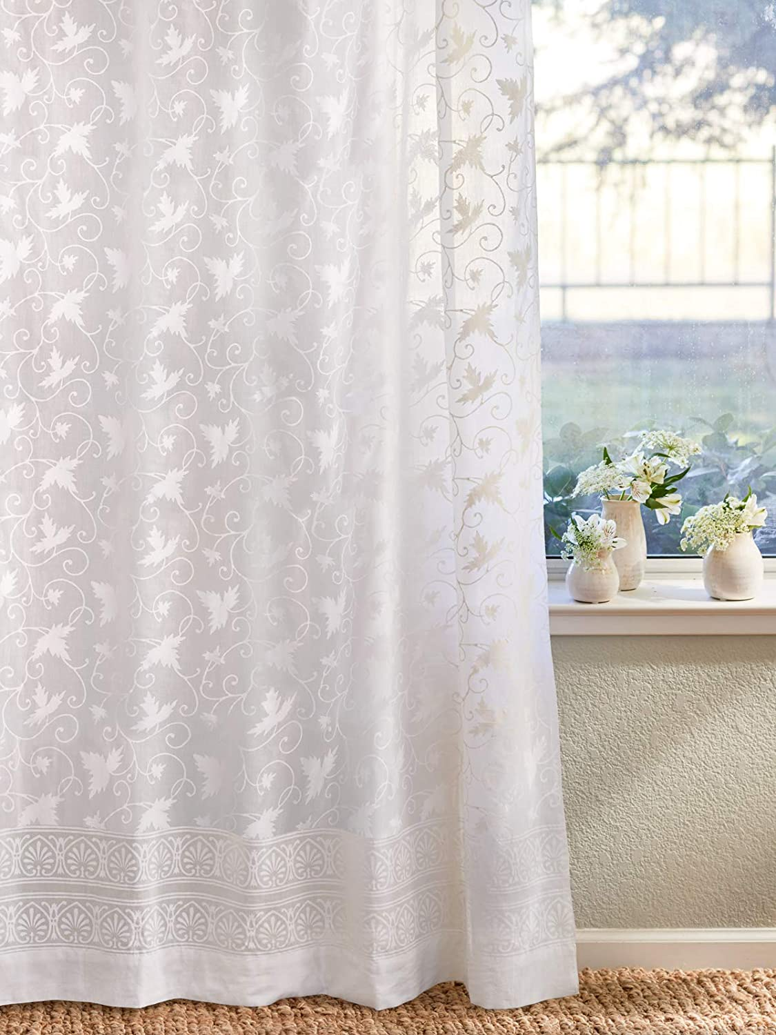 Saffron Marigold Ivy Lace Sheer White Curtains | Country Cottage Cotton Voile Floral Printed Long Curtain Panels With Rod Pocket