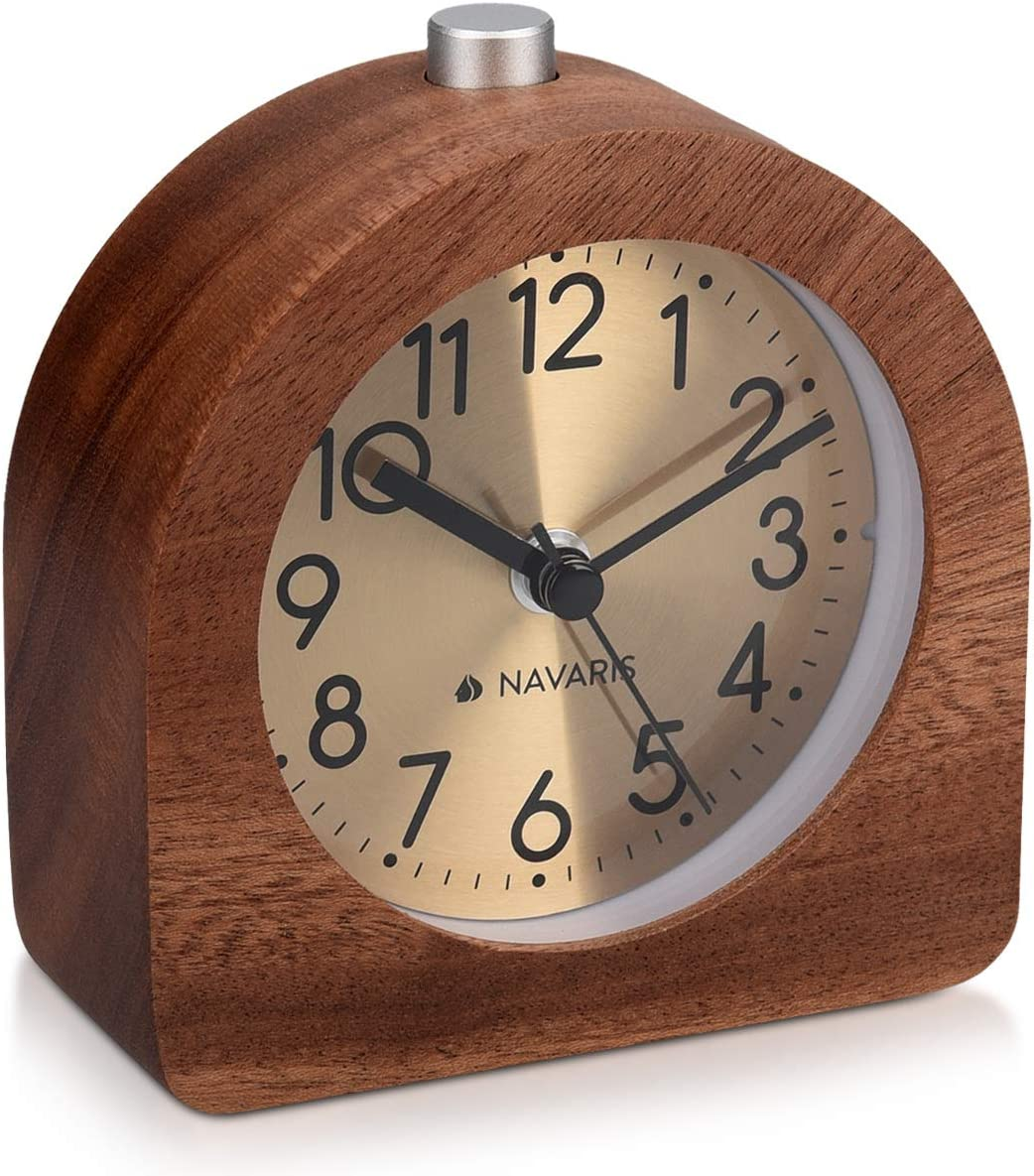Navaris Wood Analog Alarm Clock – Half-Round Gold Face Battery-Operated Non-Ticking Clock with Snooze Button and Light – Dark Brown