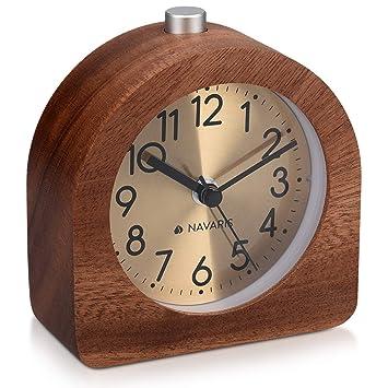 Navaris Despertador analógico - Reloj semicircular con luz - Despertador de Madera con función repetición - En marrón Oscuro con Fondo Dorado: Amazon.es: ...