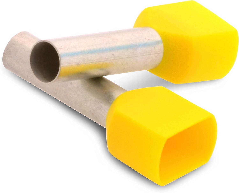 Lot de 100 embouts de c/âblage doubles doubles isol/és /à double action avec col en plastique 2 x 1,0 mm Longueur 10 mm Rouge /étam/é galvanique pour un raccordement s/ûr de 2 /échelles