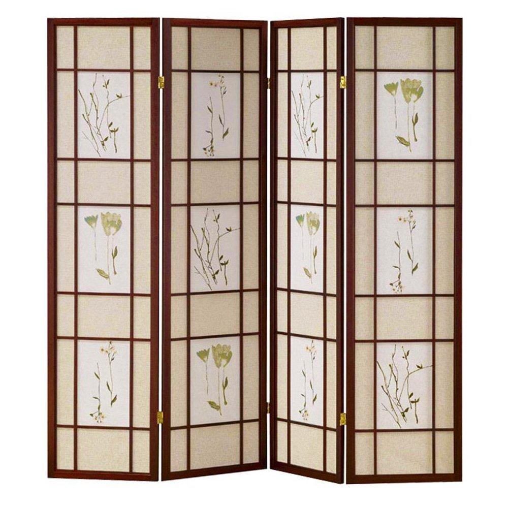 HONGVILLE Shoji Floral Prints Screen Design Wood Framed Room Divider, 4 Panel, Cherry