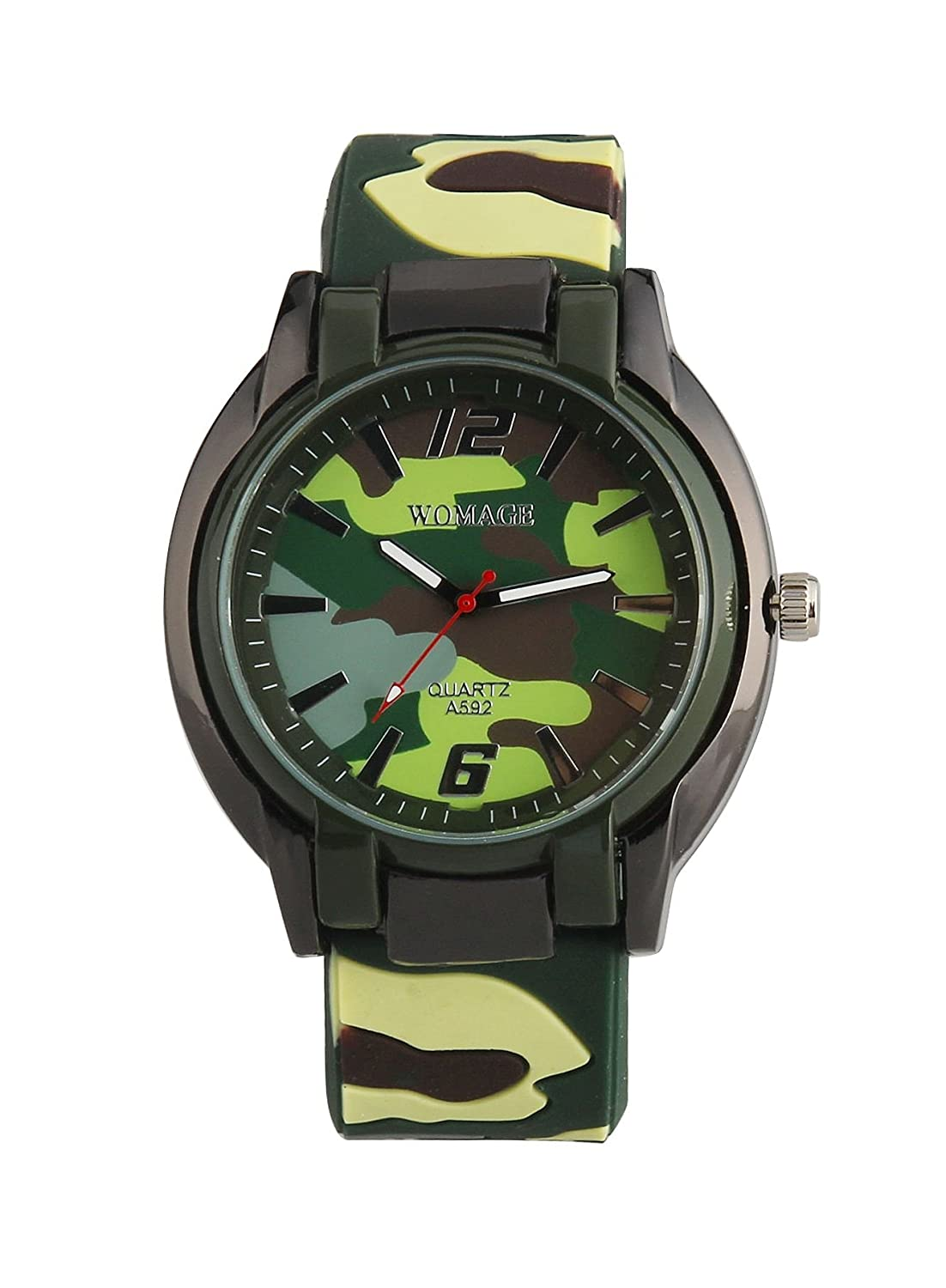 Amazon.com: ShoppeWatch Mens Big Face Watch Green Camouflage Silicone Band Reloj de Hombre SWA592CAMO: Watches