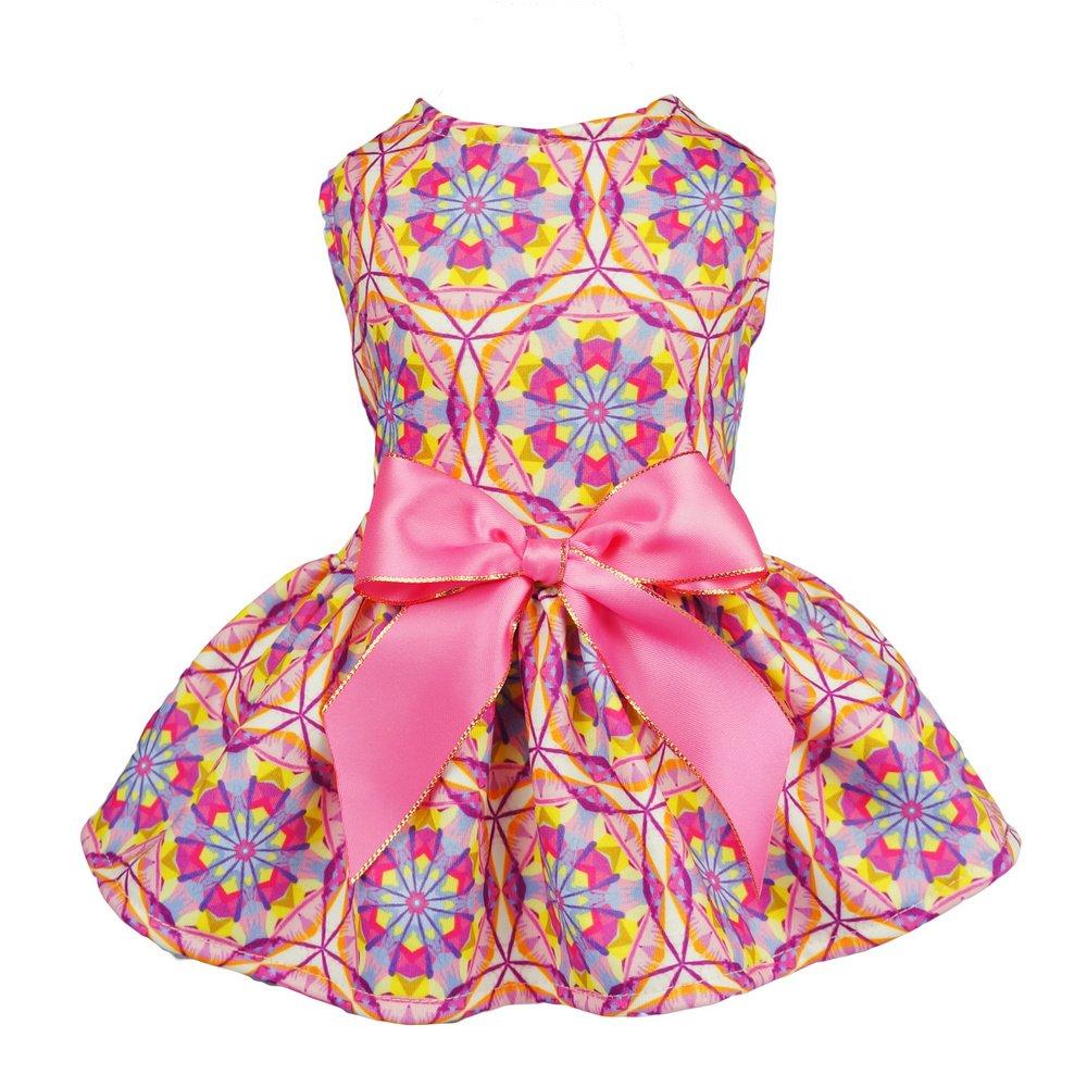Fitwarm Floral Pet Clothes for Dog Dresses Cat Sundress Vest Shirts Pink XS