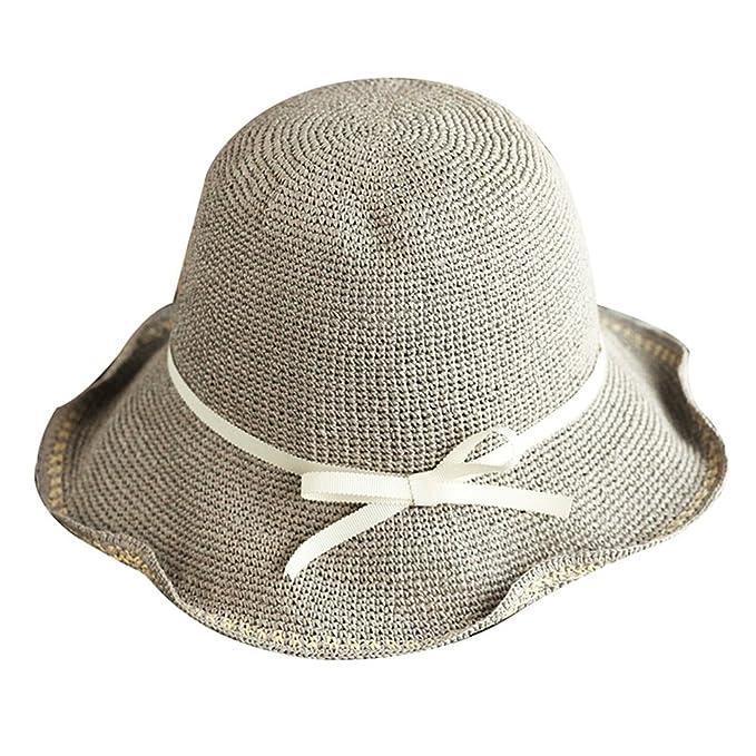 3b1cbec0a885e SH Strohhut Einfacher Sommer-beiläufiger Reise-Sonnenschutz  Feinstrick-Sonnenhut-kühler Hut Großer
