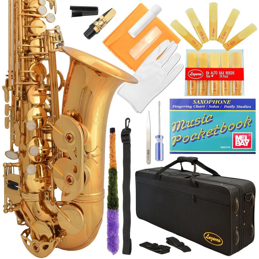 Saxofón alto Dorado de Lazarro con funda y accesorios (xmp)