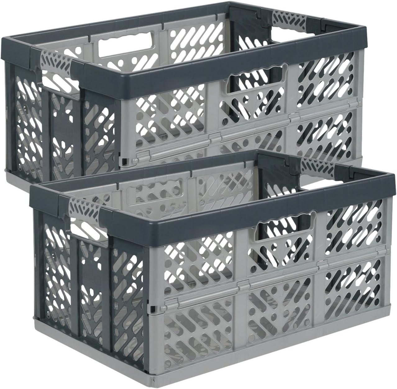 keeeper ben - Cajas plegables profesionales (45 L / Polipropileno / Color gris antracita), 2 unidades
