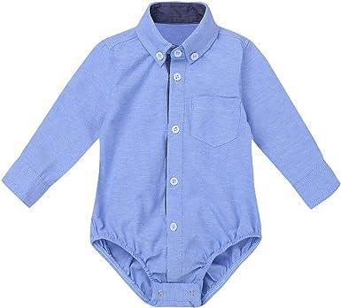 TiaoBug Recién Nacidos Mameluco Verano Otoño Pelele Manga Larga Camisa Cómoda Pijama Bebés Disfraz Caballero de Fiesta Bautizo Boda: Amazon.es: Ropa y accesorios
