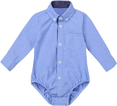 YOOJIA Mono de Camisa para Bebé Niño 3-24 Meses Body para Bebés Mameluco Jumpsuit Traje de Bautismo Boda: Amazon.es: Ropa y accesorios