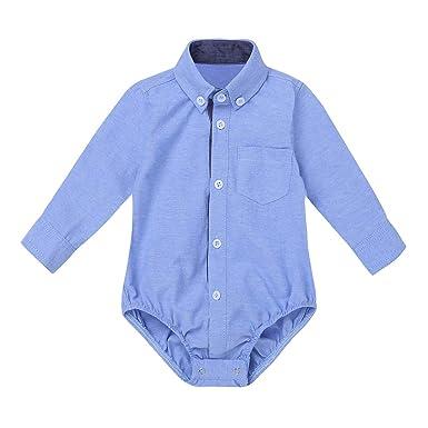 42073e9260b52 Agoky Ropa para Bebés Niños Camisas Manga Largo 2018 Ropa para Recién  Nacidos Bebe Monos Niños Boda Fiestas Bautizo Bodies  Amazon.es  Ropa y  accesorios