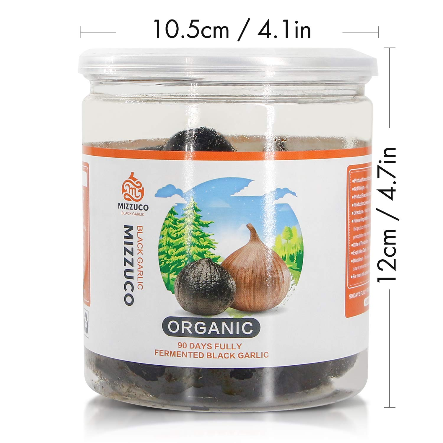 Mizzuco Black Garlic,460G Organic WHOLE Black Garlic Natural Fermented for 90 days Healthy Snack Ready to Eat or Sauce