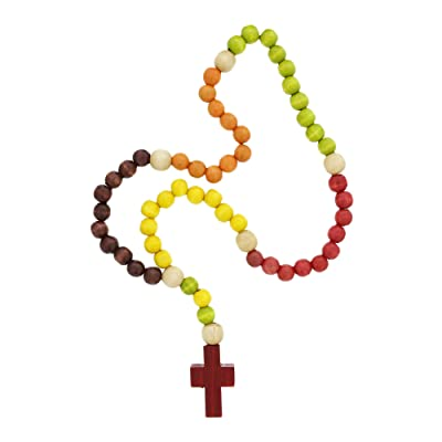 Vibrant Red Green 20.5 Wood Beaded Children's Rosary : Baptism Gifts : Baby